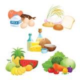 Cinq illustrations de groupe d'aliments Photographie stock libre de droits