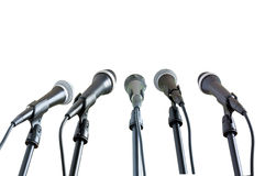 Cinq microphones Photo libre de droits