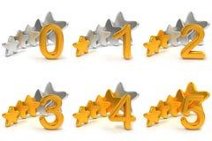 Cinq notations d'étoiles Photo stock