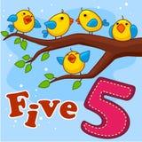 Cinq oiseaux jaunes Images libres de droits