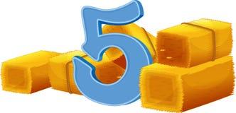 Cinq paquets de foins Images stock