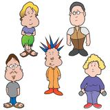 Cinq personnes de bande dessinée illustration de vecteur