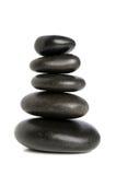 Cinq pierres noires équilibrées Image libre de droits