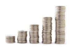 Cinq piles de pièces de monnaie Image stock