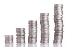 Cinq piles de pièces de monnaie Photos libres de droits