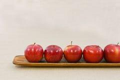 Cinq pommes dans une ligne Image libre de droits