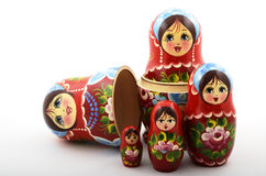 Cinq poupées russes traditionnelles de matryoshka Photos stock