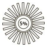 Cinq pour cent d'infographics, style d'ensemble Photo stock