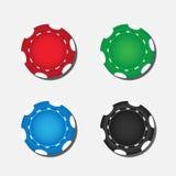 Cinq puces de tisonnier colorées Photo stock