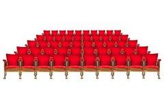 Cinq rangées des chaises de cinéma de vintage d'isolement sur le blanc Images libres de droits