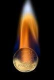 Cinq roubles de moitié-pièce de monnaie en feu Images stock