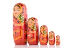 Cinq rouge Babushka photo stock