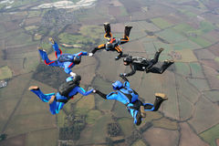 Cinq skydivers Photographie stock