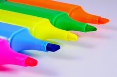 Cinq stylos de barre de mise en valeur Image stock