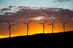 Cinq turbines de vent au coucher du soleil Photographie stock libre de droits