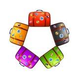 Cinq valises différentes de couleur Photos libres de droits