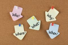 Cinq WS écrits sur des notes Photos stock