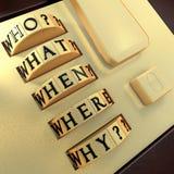 Cinq WS : Qui ? Ce qui ? Où ? Quand ? Pourquoi ? Photo stock