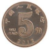 Cinq yuans de Chinois de pièce de monnaie Photographie stock libre de droits