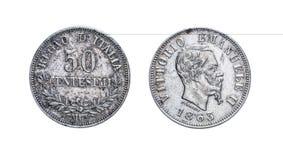 Cinqüênta 50 liras de moeda de prata dos centavos Vittorio Emanuele 1863 II, reino de Itália Imagens de Stock Royalty Free