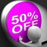 Cinqüênta por cento fora preço pressionado ou de 50 das mostras do meio Imagem de Stock Royalty Free