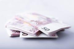 Cinquanta banconote degli euro Fotografia Stock