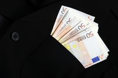 Cinquanta banconote degli euro in tasca Fotografia Stock Libera da Diritti