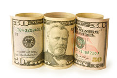 Cinquanta banconote del dollaro Immagine Stock