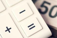 Cinquanta Bill Money Calculator Immagine Stock Libera da Diritti