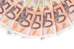 Cinquanta cento euro banconote in una fila. Immagini Stock
