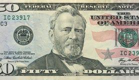 Cinquanta dollari con una nota 50 dollari Fotografia Stock Libera da Diritti