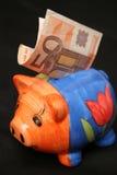 Cinquanta euro e piggy Fotografia Stock Libera da Diritti