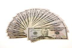 Cinquanta fatture del dollaro Fotografie Stock Libere da Diritti