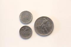 Cinquanta lire italian coin. Old italian currency coins cinquanta lire (two editions Stock Image