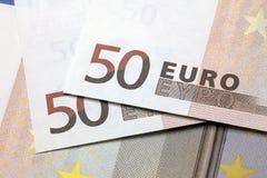 Cinquanta note degli euro Fotografie Stock