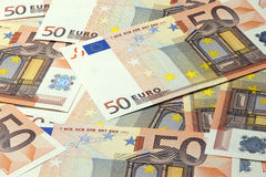 Cinquanta note degli euro Immagini Stock Libere da Diritti