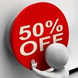 Cinquanta per cento fuori dal bottone mostrano la metà prezzo o 50 Fotografie Stock Libere da Diritti