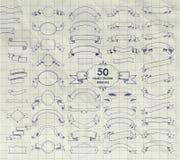 Cinquanta vettore Pen Drawing Ribbons, insegne, strutture Fotografia Stock
