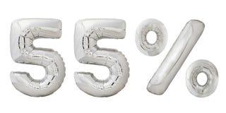 Cinquantacinque palloni metallici del cromo di per cento Fotografia Stock Libera da Diritti