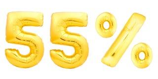Cinquante-cinq 55 pour cent d'or Images stock