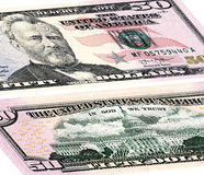 Cinquante dollars d'Etats-Unis L'avant et le verso photos libres de droits