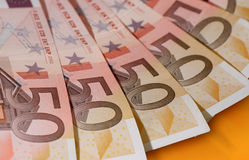 Cinquante euro billets de banque Images libres de droits