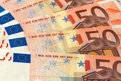 Cinquante euro billets de banque nominaux Photographie stock