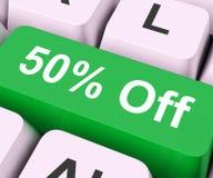 Cinquante pour cent outre de clé signifient la remise ou la vente Photos stock