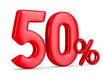 Cinquante pour cent sur le fond blanc 3D d'isolement Image libre de droits