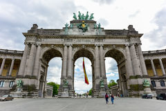 Cinquantenaire Park in Brussels. Triumphal arch Arc de Triomphe in Cinquantenaire park in Brussels, was planned for National Exhibition of 1880 to commemorate Stock Photography