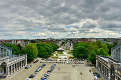 Cinquantenaire Park in Brussels. View from the Triumphal arch Arc de Triomphe in Cinquantenaire park in Brussels, was planned for National Exhibition of 1880 to Stock Photo