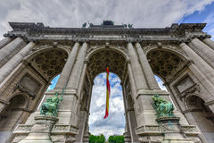 Cinquantenaire Park in Brussels. View from the Triumphal arch Arc de Triomphe in Cinquantenaire park in Brussels, was planned for National Exhibition of 1880 to Stock Photography