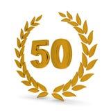 cinquantesimo Corona dorata dell'alloro di anniversario illustrazione di stock
