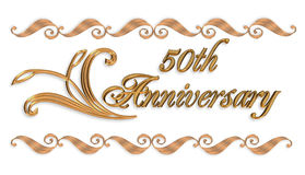 cinquantesimo elemento del bordo dell'invito dell'oro di anniversario Immagini Stock